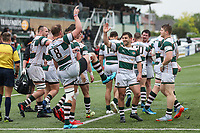 Mark Bright of Ealing Trailfinders celebrates with team mates after he scores a try during the British & Irish Cup Final match between Ealing Trailfinders and Leinster Rugby at Castle Bar, West Ealing, England  on 12 May 2018. Photo by David Horn / PRiME Media Images.