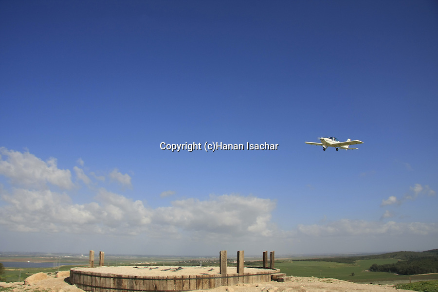 Israel, Shephelah. An airplane above Tel Zafit is identified as Gath, one of the ancient Canaanite and Philistine five cities (along with Gaza, Ekron, Ashkelon, and Ashdod)
