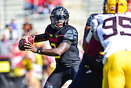 College Park, MD - OCT 15, 2016: Maryland Terrapins quarterback Tyrrell Pigrome (3) in the pocket during game between Maryland and Minnesota at Capital One Field at Maryland Stadium in College Park, MD. (Photo by Phil Peters/Media Images International)