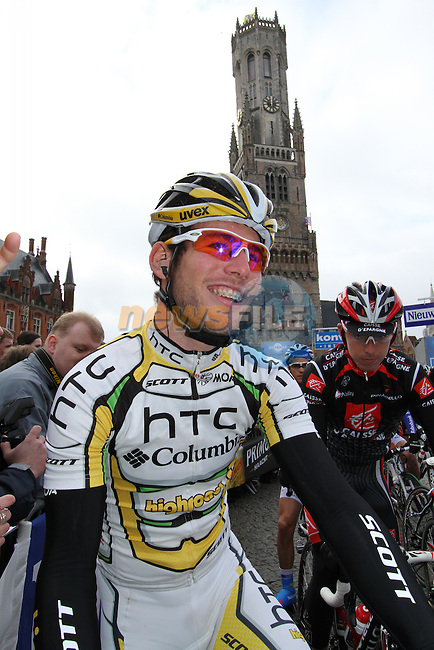 Mark Cavendish (HTC-Columbia) waits on the line before the start of the Tour of Flanders in Bruges Market Square, 4th April 2010 (Photo by Eoin Clarke/NEWSFILE).