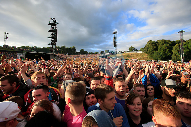 Fans listen to Plan B during Slane Eminem Concert 2013. 17th August 2013.<br /> (Photo:Eoin Clarke/www.newsfile.ie)