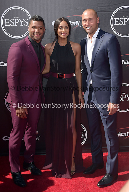 Russell Wilson ,Ciara and Derek Jeter attends The 2015 ESPY Awards held at The Microsoft Theatre  in Los Angeles, California on July 15,2015                                                                               © 2015 Hollywood Press Agency
