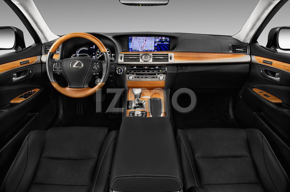 Stock photo of straight dashboard view of 2016 Lexus LS 600h L 4 Door Sedan Dashboard