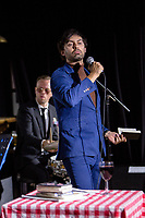 14th July 2019: Comedian Marcel Lucont performs his show No.'Dix' on day 2 of the 2019 Comedy Crate Festival, Northampton.