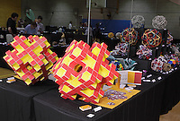 Modular origami designed and folded by Jeannine Mosely on display at OrigamiUSA 2013