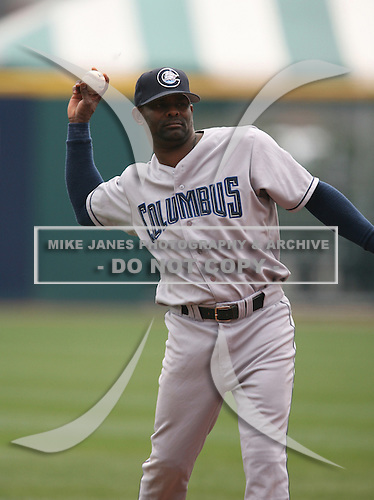 2007:  Manny Alexander of the Columbus Clippers throws during a game vs the Buffalo Bisons in International League baseball action.  Photo copyright Mike Janes Photography 2007.