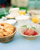 FRANCE, Burgundy, french breakfast on table, close-up, Aloxe-Corton