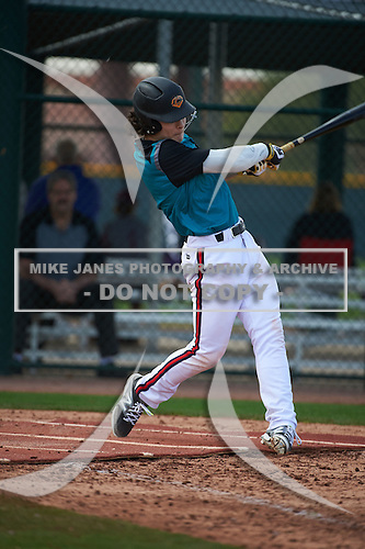 Miko Rodriguez (5) of Forest Hills Central High School in Ada, Michigan during the Under Armour All-American Pre-Season Tournament presented by Baseball Factory on January 14, 2017 at Sloan Park in Mesa, Arizona.  (Art Foxall/Mike Janes Photography)