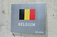 20190227 - LARNACA , CYPRUS : illustration picture shows the Belgian flag during a women's soccer game between the Belgian Red Flames and Slovakia , on Wednesday 27 February 2019 at the AEK Arena in Larnaca , Cyprus . This is the first game in group C for Belgium during the Cyprus Womens Cup 2019 , a prestigious women soccer tournament as a preparation on the Uefa Women's Euro 2021 qualification duels. PHOTO SPORTPIX.BE | DAVID CATRY