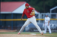 Johnson City Cardinals relief pitcher Juan Alvarez (27) in action against the Burlington Royals at Burlington Athletic Stadium on July 15, 2018 in Burlington, North Carolina. The Cardinals defeated the Royals 7-6.  (Brian Westerholt/Four Seam Images)