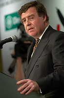 June 3, 2003, Montreal, Quebec, Canada.<br /> <br /> James C. Cherry, CEO , Airports of  Montreal<br /> speak in front of the Montreal Chamber of Commerce, June 3 2003.<br />    <br /> <br /> <br /> Mandatory Credit: Photo by Pierre Roussel- Images Distribution. (©) Copyright 2003 by Pierre Roussel