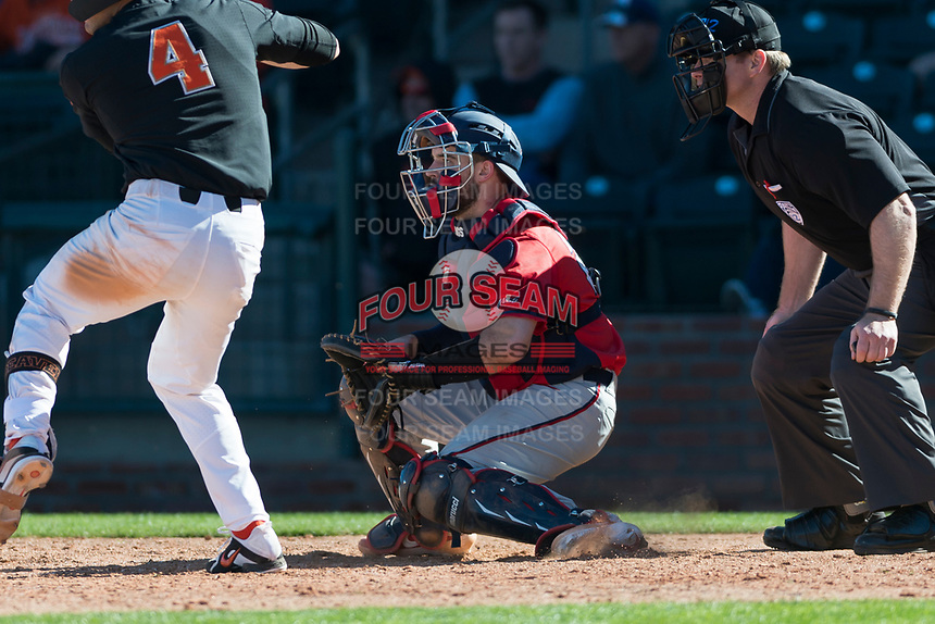 Gonzaga Bulldogs catcher Austin Pinorini (23) during a game against the Oregon State Beavers on February 16, 2019 at Surprise Stadium in Surprise, Arizona. Oregon State defeated Gonzaga 9-3. (Zachary Lucy/Four Seam Images)