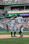 (L-R) Ichiro Suzuki, Dee Gordon (Marlins),<br /> AUGUST 7, 2016 - MLB :<br /> Ichiro Suzuki of the Miami Marlins is congratulated by his teammate Dee Gordon at third base after hitting a triple for his 3000th career hit in the MLB in the seventh inning during the Major League Baseball game against the Colorado Rockies at Coors Field in Denver, Colorado, United States. (Photo by Thomas Anderson/AFLO) (JAPANESE NEWSPAPER OUT)