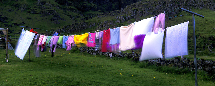 Laundry out to dry at a Icelandic farm Hestgerdi Sudursveit, near Hofn. Images taken with Hasselblad Xpan camera and Fuji Velvia film.