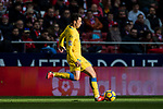 Joaquin Navarro Jimenez, Ximo, of UD Las Palmas shields his eyes from the sun while running with the ball during the La Liga 2017-18 match between Atletico de Madrid and UD Las Palmas at Wanda Metropolitano on January 28 2018 in Madrid, Spain. Photo by Diego Souto / Power Sport Images