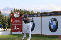 Paul Dunne (IRL) tees off the 11th tee during Thursday's Round 1 of the 2017 Omega European Masters held at Golf Club Crans-Sur-Sierre, Crans Montana, Switzerland. 7th September 2017.<br /> Picture: Eoin Clarke | Golffile<br /> <br /> <br /> All photos usage must carry mandatory copyright credit (&copy; Golffile | Eoin Clarke)