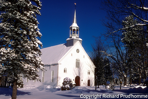 Winter scenic of Catholic Church in Saint-Alphonse-Rodriquez Quebec