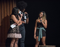 Apollo Night hosts Nina Reynoso '16 and Chance Ward '18 introduce Euella Jackson. Occidental College students perform and compete during Apollo Night, one of Oxy's biggest talent showcases, on Friday, Feb. 26, 2016 in Thorne Hall. Sponsored by ASOC, hosted by the Black Student Alliance as part of Black History Month.<br /> (Photo by Marc Campos, Occidental College Photographer)