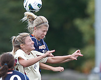 Boston College midfielder Gibby Wagner (10) and Pepperdine University midfielder/defender Ana Pontes (18) battle for head ball. Pepperdine University defeated Boston College,1-0, at Soldiers Field Soccer Stadium, on September 29, 2012.