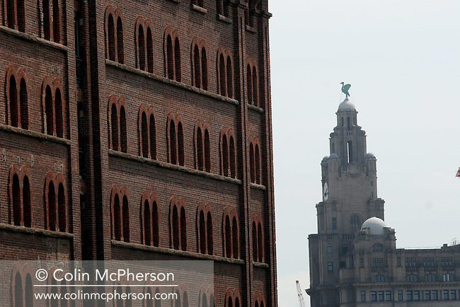The Liver Building which stands at the Pierhead on the river Mersey in Liverpool. This landmark building was one of a group of historical buildings known as The Three Graces which were visible to visitors arriving by sea into the port. Liverpool was chosen to be European Capital of Culture for 2008.