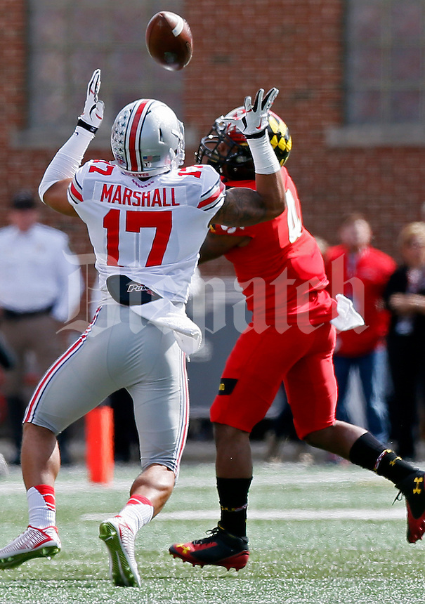 Ohio State Buckeyes running back Jalin Marshall (17) misses a pass in the first quarter of their game at Byrd Stadium in College Park, Maryland on October 4, 2014. (Columbus Dispatch photo by Brooke LaValley)