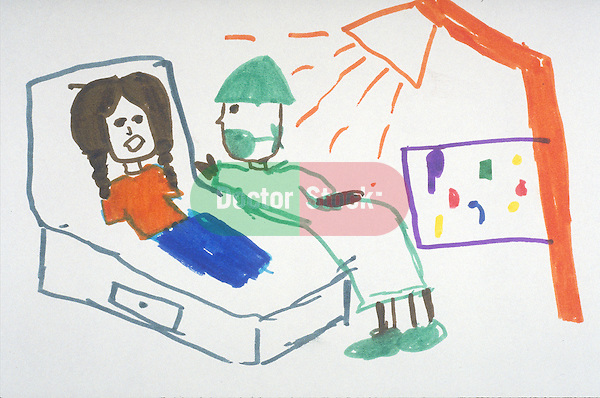 child's rudimentary drawing of surgeon examining young girl with pigtails