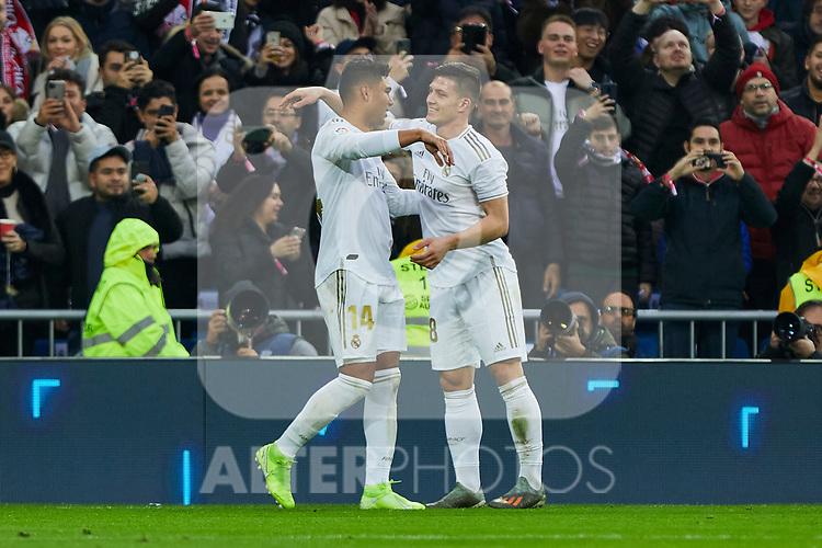 Carlos Henrique Casemiro and Luka Jovic of Real Madrid celebrate goal during La Liga match between Real Madrid and Sevilla FC at Santiago Bernabeu Stadium in Madrid, Spain. January 18, 2020. (ALTERPHOTOS/A. Perez Meca)
