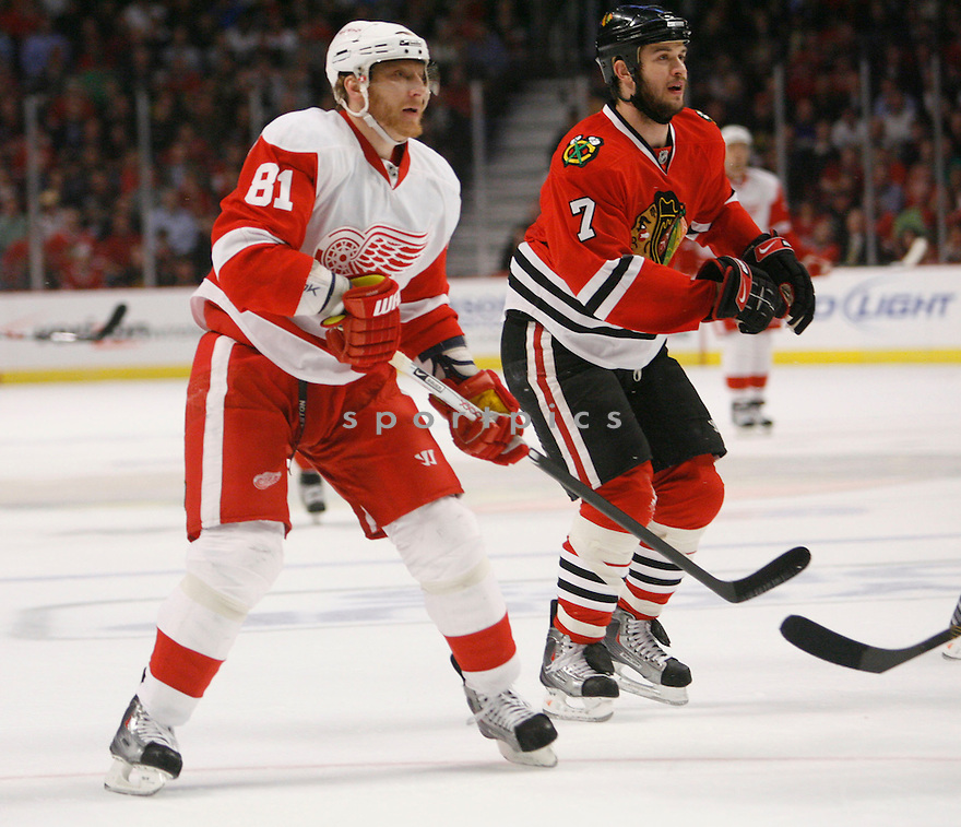 MARIAN HOSSA,, of the Detroit Red Wings  in action during the Red Wings game against the Chicago Blackhawks in Chicago, IL on May 22, 2009  The Blackhawks win 4-3.