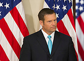 Kansas Secretary of State Kris Kobach and Vice Chairman of the Presidential Advisory Commission on Election Integrity attends the first meeting of the Commission at The White House in Washington, DC, July 19, 2017. <br /> Credit: Chris Kleponis / CNP
