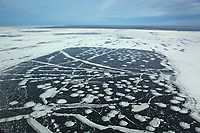 Aerial of ice patterns in the Beaufort Sea, off the coast of Alaska's Arctic North Slope.