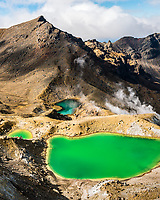 Emerald Lakes on Tongariro Alpine Crossing Track Tongariro National Park, Central Plateau, North Island, UNESCO World Heritage Area, New Zealand, NZ