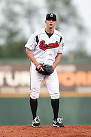 Nashville Sounds pitcher Brad Mills (49) during a game against the Omaha Storm Chasers on May 19, 2014 at Herschel Greer Stadium in Nashville, Tennessee.  Nashville defeated Omaha 5-4.  (Mike Janes/Four Seam Images)