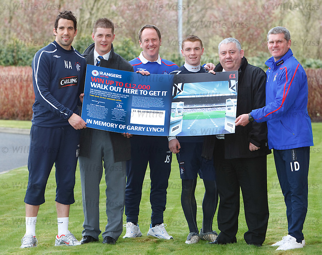 Neil Alexander, Garry Lynch JR,  Jimmy Sinclair, John Fleck, Billy Montgomery and Ian Durrant promote Rangers rising stars youth development lottery tickets