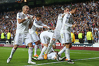 Real Madrid players celebrating goal of Chicharito