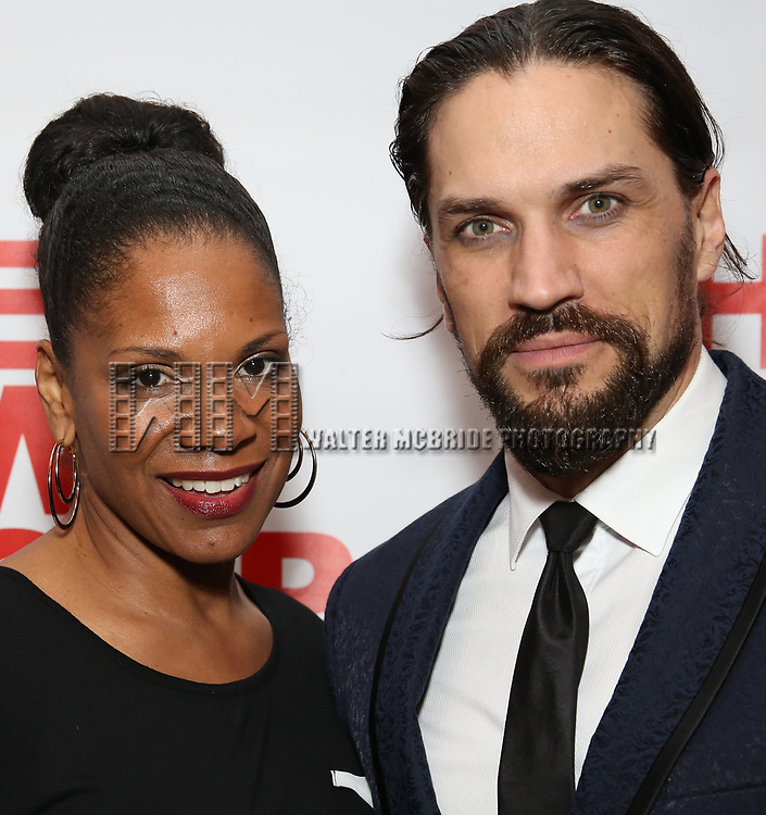 """Audra McDonald and Will Swenson attends the Off-Broadway Opening Night Premiere of  """"Jerry Springer-The Opera"""" on February 22, 2018 at the Green Fig Urban Eatery in New York City."""