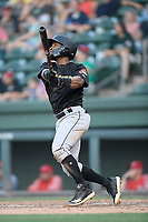 Outfielder J.R. Davis (6) of the West Virginia Power bats in a game against the Greenville Drive on Friday, May 17, 2019, at Fluor Field at the West End in Greenville, South Carolina. West Virginia won, 10-4. (Tom Priddy/Four Seam Images)