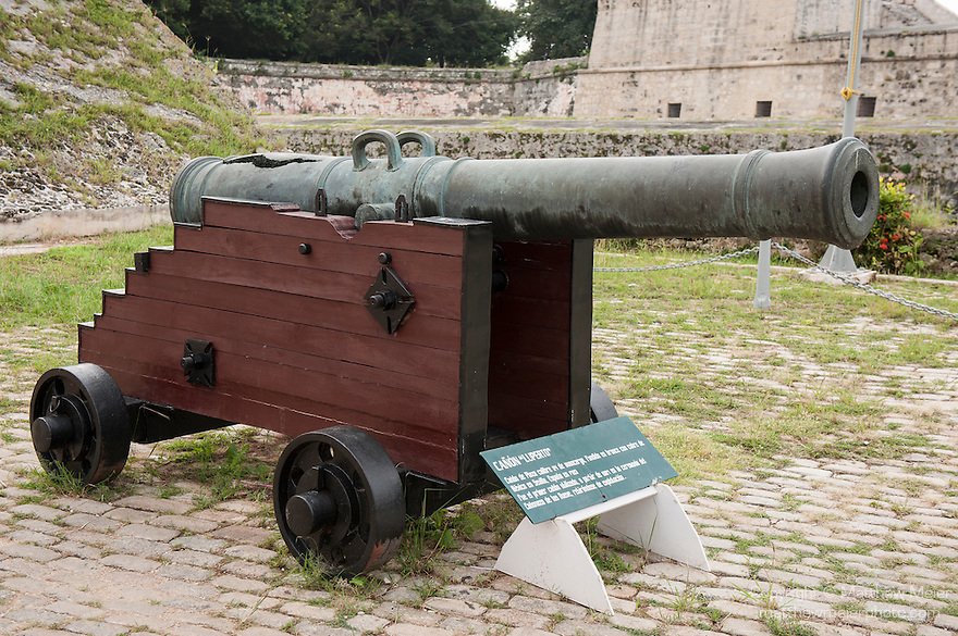Havana, Cuba; a cannon at the entrance to the Fortaleza de San Carlos de la Cabana, which was finished in 1774 and protected the opening to Havana harbor