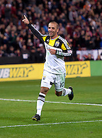 Federico Higuain (10) of the Columbus Crew celebrates his goal during a MLS game at RFK Stadium in Washington, DC.  D.C. United lost to the Columbus Crew, 3-0.