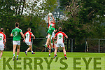 Kevin Gorman Kilcummin rises over James Walsh St Kieran's during their County Championship clash in Kilcummin on Saturday
