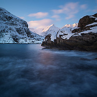 Winter coastal landscape, Å, Moskenesøy, Lofoten Islands, Norway