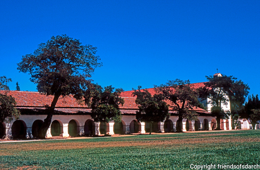 California Missions: Mission San Juan Bautista, 1803-1812. Restored 1884, the example stimulating Mission Revival style.