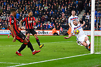 Erik Pieters of Stoke City right makes a great clearance from Jordon Ibe of AFC Bournemouth during AFC Bournemouth vs Stoke City, Premier League Football at the Vitality Stadium on 3rd February 2018