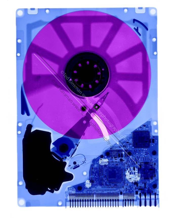 An X-Ray of a computer Hard drive.