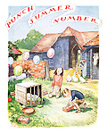 (Punch Summer Number for 1940 title page - two children on a farmyard pretend ballons are barrage balloons)