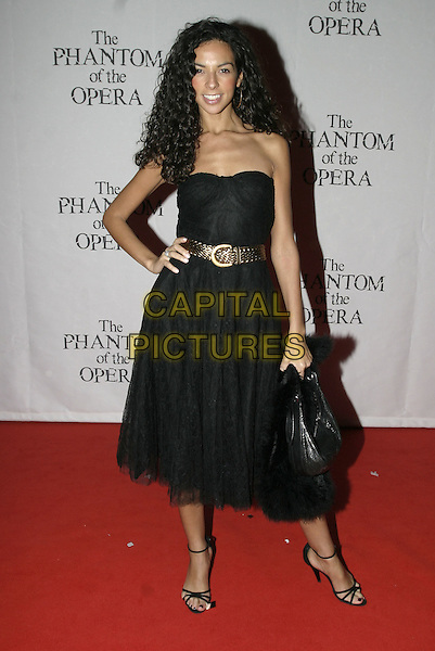 "TERRI SEYMORE.""The Phantom of the Opera"" World Premiere Party,.Grand Hall Olympia, London, December 6th 2004..full length strapless black dress gold belt.Ref: AH.www.capitalpictures.com.sales@capitalpictures.com.©Capital Pictures."
