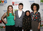 Molly Griggs, Charlie Stemp, Baayork Lee and Sasha Hutchings backstage at The Fourth Annual High School Theatre Festival at The Shubert Theatre on March 19, 2018 in New York City.