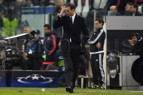 23.02.2016. Turin, Italy. UEFA Champions League football. Juventus versus Bayern Munich.  Massimiliano Allegri Juventus  frustrated to go behind in the game