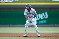Oscar Gonzalez (39) of the Lynchburg Hillcats takes his lead off of second base against the Winston-Salem Dash at BB&T Ballpark on May 9, 2019 in Winston-Salem, North Carolina. The Dash defeated the Hillcats 4-1. (Brian Westerholt/Four Seam Images)