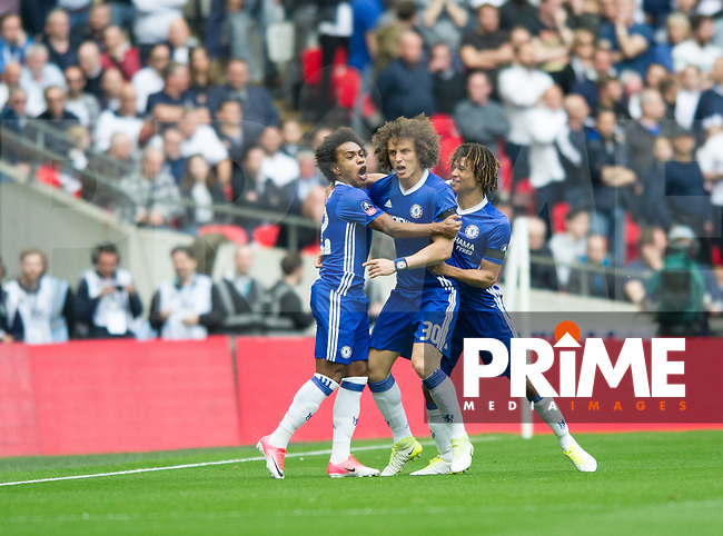 Chelsea players celebrating first goal during the FA Cup Semi Final match between Chelsea and Tottenham Hotspur at Wembley Stadium, London, England on 22 April 2017. Photo by Andrew Aleksiejczuk / PRiME Media Images.