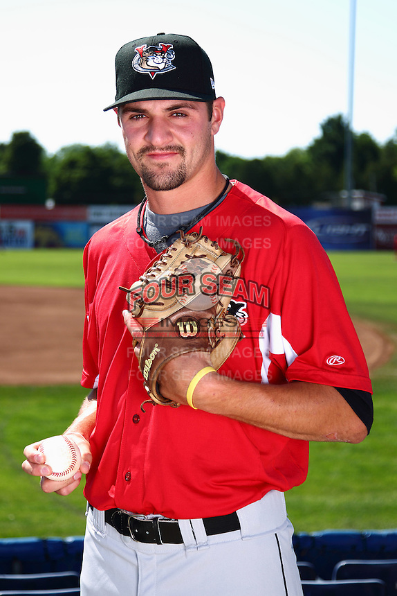 Tri-City ValleyCats pitcher Nick Tropeano #25 poses for a photo before a game against the Batavia Muckdogs at Dwyer Stadium on July 15, 2011 in Batavia, New York.  Batavia defeated Tri-City 4-3.  (Mike Janes/Four Seam Images)